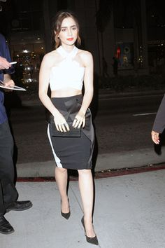 Lily Collins wearing Roland Mouret at the Flaunt Magazine and G-Star Raw pre-release of The Dye issue celebration