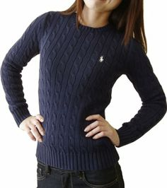 Amazon.co.jp: (ラルフローレン)RALPH LAUREN レディース クルーネック 長袖 セーター ポニーマーク ワンポイント 刺繍 [並行輸入品]: 服&ファッション小物
