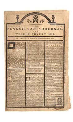 Historic Newspapers~  Pennsylvania Journal and Weekly Advertiser dated 10/31/1975 -- Tombstone edition protesting the Stamp Act. On exhibit in the News Corporation News History Gallery at the Newseum.  Newseum collection  Photo credit: Newseum collection