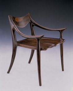 Sam Maloof Low-Back Side Chair. The seat is hand-carved by master woodworker Sam Maloof. Gorgeous!