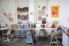 Links to: 40 Inspiring Workspaces of The Famously Creative. Always great to see artist studios and how people work in their space. Shown: Lisa Congdon's studio, illustrator.