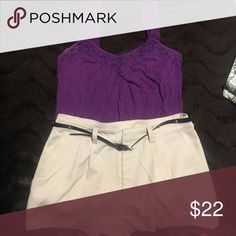Purple tank top & Dressy beige shorts with belt Purple tank & beige dressy shorts Other