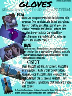 Disney's FROZEN...Anna, Elsa, Hans, and Kristoff. Why they wear gloves....