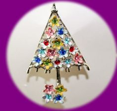 Vintage Christmas Tree Brooch Silver Plated  by IRENESVINTAGEBLING