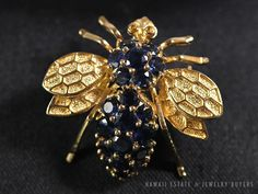 NATURAL BLUE SAPPHIRE BEE BROOCH PENDANT 14K YELLOW GOLD VINTAGE