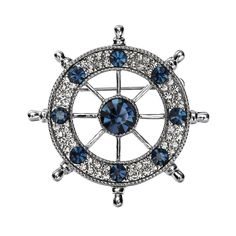 Amazon.com: OKAJEWELRY Men's Rudder Shaped Sapphire Crystal Czech Diamond Brooch: Clothing