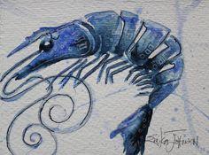 Blue Shrimp paintingoriginal water color / by ErikaJohnsonGallery, $25.00