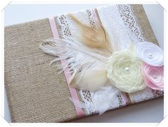 Burlap Wedding Guest Book Embellished with by ModernShabby on Etsy, $47.00