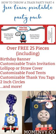 Free Train Party Printables - Free Thomas the Tank Engine Party Pack. Thomas the Tank Engine party. Train party. Free party printables.