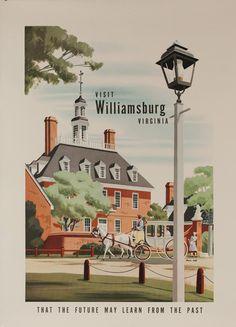 1950s Williamsburg Virginia USA vintage travel poster