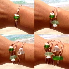 Hawaiian Emerald Green Beach Glass and Puka Shell on India Leather Cord Completely Adjustable & Stackable Bracelet Shell Jewelry, Sea Glass Jewelry, Beach Jewelry, Stone Jewelry, Diy Jewelry, Jewelry Making, Jewellery, Tribal Jewelry, Sea Crafts