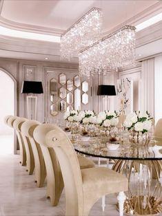 Elegant Dining Room, Luxury Dining Room, Beautiful Dining Rooms, Elegant Home Decor, Dining Room Design, Interior Design Dubai, Luxury Homes Interior, Room Interior, Neoclassical Interior Design