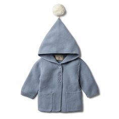 17dd523e949bc Keep bubs warm this winter in our hooded jacket with pom pom. Made from a
