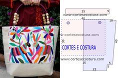 Bolsa com bordados com molde e com as medidas