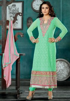 Aqua green Color Pure Georgette straight cut suit with an intricately resham embroidered patch and zari work yoke and an embroidered bodice
