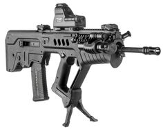 The TAR Podium is specialty made bipod platform for the TAR 21 rifles. Rapid deployment mechanism operates by the push of a button. Provides steady and durable bipod platform while mainta Weapons Guns, Guns And Ammo, Military Weapons, Tactical Rifles, Firearms, Shotguns, Assault Weapon, Assault Rifle, Bushcraft
