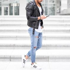 Leather jacket distressed jeans and @adidas #sneakers by @rowanrow  [ http://ift.tt/1f8LY65 ]
