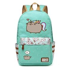 Pusheen Cat Canvas Bag Unicorn Flower Wave Point Rucksacks Backpack For Teenagers Girls Women School Bags Travel Shoulder Bag - PINkart. Pusheen Backpack, Rucksack Backpack, Canvas Backpack, Unicorn Cat, Cute Unicorn, Chat Pusheen, Pusheen Stuff, School Bags For Girls, Travel Bags