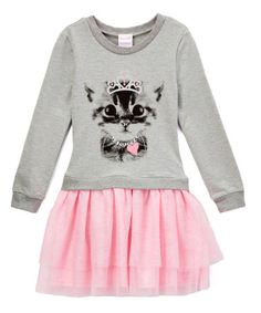 Gray & Pink Cat Drop-Waist Dress - Toddler & Girls #zulily #zulilyfinds