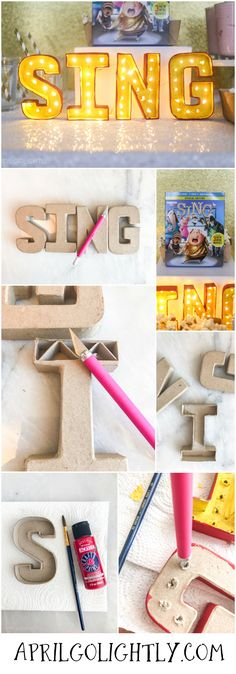 SING the movie watch party with party table, menu and DIY light up sing sign with tutorial on how to make it #singmovie #singsquad #ad