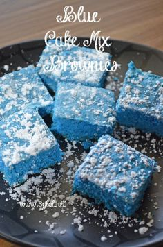 Blue Cake Mix Brownies. A fun and colorful way to eat Brownies and it's made with cake mix. #brownies #cakemixbrownies #cakemixrecipes http://www.3glol.net