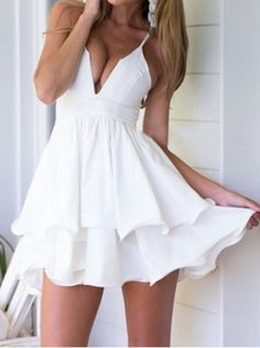 dress white fashion flowy sexy party cute girly style summer short dress cleavage feminine