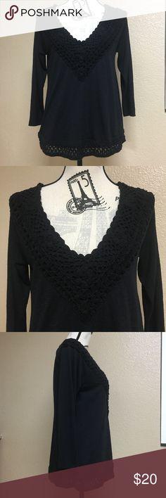 Hollister black Crochet top Women's medium Hollister black Crochet top Women's medium Hollister Tops