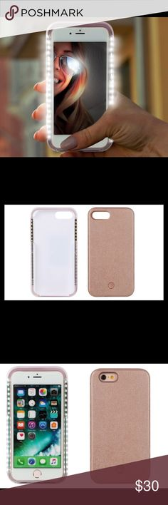 "LED Light Up Selfie Case Rose Gold LEDs evenly illuminate your face as you pose for selfies Solid modes provide bright or dim light Flash modes flicker rapidly or slowly Easy one-button light control **LED CASE COMES WITH CHARGING USB CABLE**  Shields phone from scratches, bumps, and drops. Snug, secure fit! ****NOT UD Brand - TAGGED FOR PARTY**** iPhone 6/6s case: 5.71""x2.95""x0.59""; 2.1oz.  40 LEDs Color temperature: 3000–3300k Battery: 500mAh lithium-polymer Battery life: up to 6 hours…"