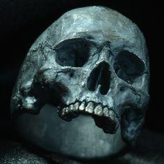 Skull ring Mid size half jaw silver mens skull by Bakogiorgis