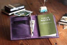 Small Moleskine leather cover. Travel journal cover. Violet color. Field Notes leather case. Notebook case. Travel gift. Travel accessories.