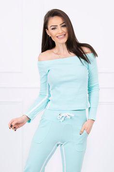 Tepláková súprava s dvojitým pásikom mätová Jumpsuit, Mint, Legs, Sweatshirts, Blouse, Sleeves, Cotton, How To Wear, Dresses