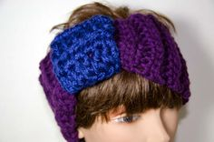 Chunky  Head Band/Neck Cowl Purple with Blue Band Ear by Kakodah