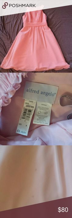 Alfred Angelo Alfred Angelo bridesmaid dress. Worn once. Has a few spots on it as pictured on the front there is also one similar on the back. The shoes I wore are listed as well they are Nina and match perfectly. Could be a cute prom dress or special occasion dress. Alfred Angelo Dresses