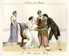 Plate 14: a passionate young man is given a hearing by a lady who is dressing her hair before a mirror, accompanied by two other ladies. 1802-12  Hand-coloured etching