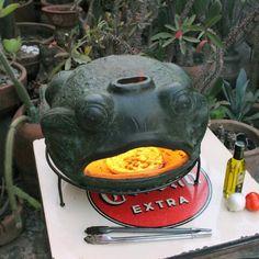 Green Frog Terracotta Pizza Oven | World Market Wood Fired Oven, Wood Fired Pizza, Terracotta Pizza Oven, Pizza Bake, Green Frog, World Market, Charcoal Grill, Whimsical, Artisan