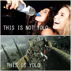 Assassins creed the ONLY time I say yolo. I find it highly appropriate. Assasing Creed, Gamer Humor, Gaming Memes, Gamer Quotes, Assassins Creed Memes, Video Game Memes, Video Games, Marvel Comics, Videogames