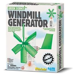 """{Windmill Generator Science Kit} """"This cool science kit teaches children about alternative energy sources and conservation while building a windmill generator that powers an LED light! Watch the LED glow as it is powered by free energy from the wind. No batteries required! Just find a used plastic drink bottle."""" Very cool."""
