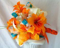 Tiger Lily Wedding Bouquet- Starfish Wedding Bouquet- Tangerine, Orange, Teal, Ivory, Beach Wedding Bouquet- Made to Order