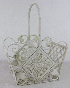 Vintage Shabby Cottage Chic Wrought Iron Metal Basket