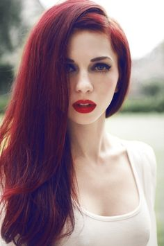 Long scarlet red hair with red lip ~so nice and sexy