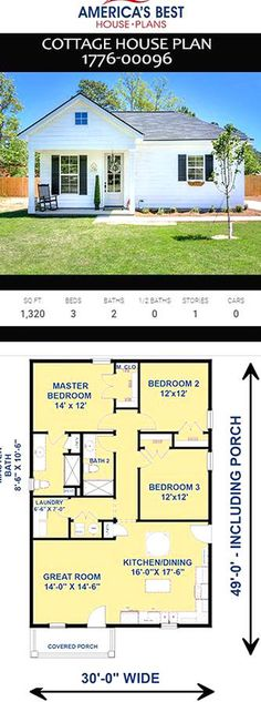 Small House Floor Plans, Best House Plans, Modern House Plans, Southern House Plans, Cottage House Plans, Country House Plans, Small Cottage Homes, Cabin Plans, House Layouts