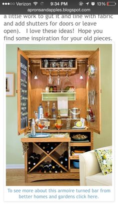 old armoire into a bar armoire barcabinet