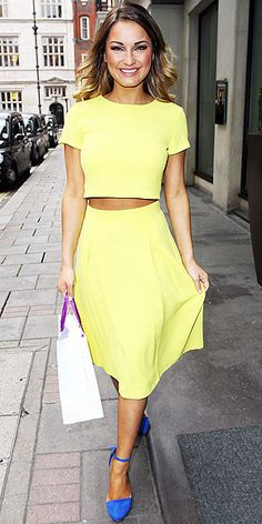 Love Her Outfit!   SAM FAIERS   Did we have any clue who Sam Faiers was before we Googled her name? Nope. Does that matter when she's in such an adorable lemon crop top and matching midi, plus even more color via blue ankle-strap heels? Nope.