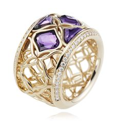 Chopard Imperiale amethyst and diamond ring - A beautiful amethyst and diamond ring from Chopard's Imperiale fine jewellery collection, which sees colourful gemstones such as pink quartz, chalcedony and amethyst set into openwork gold. With intricate filigree work resembling woven lace, inspired by the ancient art of embroidery, this Chopard ring features four fancy cut amethysts nestled within the delicate yellow gold framework.
