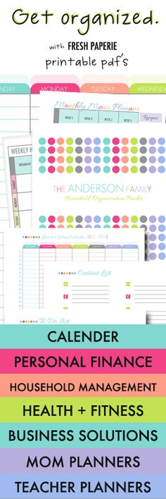 How to get organized! Printable PDFs to create custom organization binders - INSTANT DOWNLOAD!