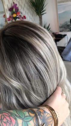 Dark Brown Hair With Blonde Highlights, Dark Blonde Hair Color, Silver Blonde Hair, Balayage Hair Blonde, Silver Hair Colors, Grey Hair Lowlights, Babylights Blonde, Gray Highlights, Grey White Hair
