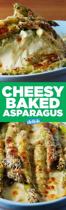 This Cheesy Baked Asparagus makes EVERYONE fight for seconds. Get the recipe from Delish.com.
