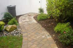 Interlocking paver Outdoor Spaces, Outdoor Living, Outdoor Decor, Interlocking Pavers, Paver Walkway, Lawn Care, Outdoor Gardens, Landscape Design, Sidewalk