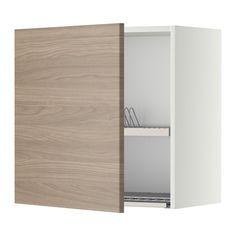 IKEA - METOD, Pakab. spintelė indų džiovykla, balta, Brokhult riešutmedžio raštas šviesi pilka, 60x60 cm, , Lentyną galima reguliuoti ir sutvarkyti erdvę savo daiktams pagal poreikius.Dureles galima tvirtinti dešinėje ar kairėje. Tvirta rėmo konstrukcija, 18 mm storio.Lankstai su fiksavimo funkcija. Duris galima tvirtinti prie lankstų be atsuktuvo ir lengvai jas nuimti, jei reikia išvalyti.