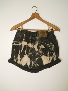 Bleached Black and light brown white Tie-Dye Dyed high-waisted high waisted Bugle Boy Shorts Striped spotted splattered Punk
